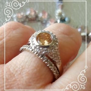 Champagne CZ & Silver Ring